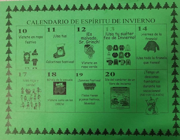 Winter Spirit Wear calendar of dates- Spanish