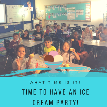 Mrs. Bush's class having ice cream party